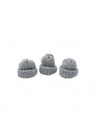 3 Bonnets tricot gris 3,4 x 1,5 x 3 cm