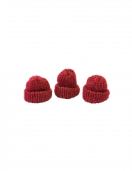 3 Bonnets tricots rouges 3,4 x 1,5 x 3 cm