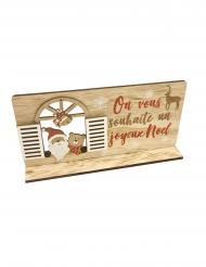 Décoration en bois père noël à sa fenêtre 20 x 10 cm
