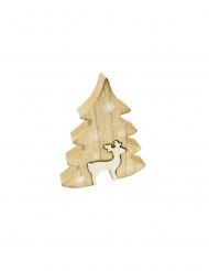 Décoration sapin et biche en bois 15 x 12 cm