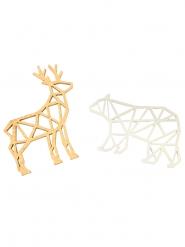 8 Confettis de table en bois ours et renne dorés 4,5 cm
