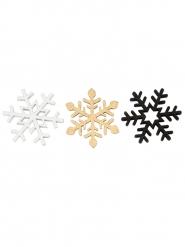 9 Confettis de table flocons de neige dorés 2,9 cm