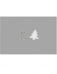 12 Confettis de table en bois sapins argentés 2,5 cm