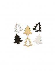 12 Confettis de table en bois sapins dorés 2,5 cm