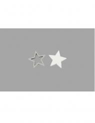12 Confettis de table en bois étoiles argentés 2,5 cm