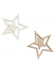10 Confettis de table en bois étoiles dorés 2,7 cm