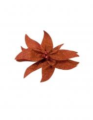Nœud de poinsettia avec grelots pailleté rouge 20 cm