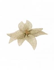 Nœud de poinsettia en toile avec perle en bois 15 cm