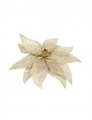 Nœud de poinsettia en toile avec perle en bois 20 cm