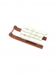 Marque place en bois luge blanche et rouge 6 x 2,5 cm