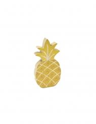 Décoration en bois ananas doré 12 cm