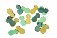 18 Confettis de table ananas dorés et verts 10 g