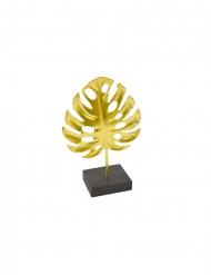 Décoration en métal sur socle feuille tropicale 15 x 10 cm