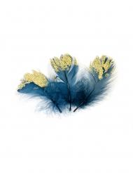 20 Plumes pailletées bleues roi et dorées pailletées 7,5 cm