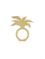 2 Ronds de serviette en bois palmier doré 7 x 7,5 cm