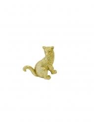 Panthère assise en résine dorée 6 cm