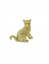 Panthère assise en résine dorée 10 cm
