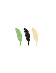 9 Confettis en bois feuilles de bananier doré, vert et noir 4,7 cm