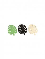 9 Confettis en bois feuilles tropicales doré, vert et noir 3,7 cm