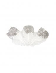 25 Plumes pailletées blanches et argentées 7,5 cm