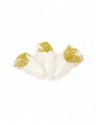 25 Plumes pailletées blanches et dorées 7,5 cm
