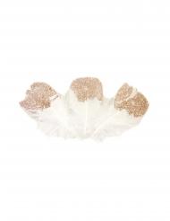 25 Plumes pailletées blanches et rose gold 7,5 cm