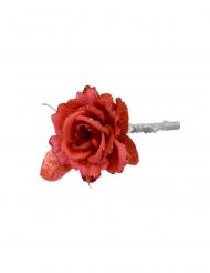 Rose artificielle rouge sur branche 15 cm