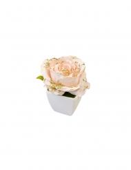 Rose artificielle rose pailletée pot blanc 8 cm