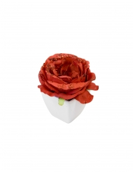 Rose artificielle rouge pailletée pot blanc 8 cm