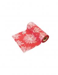 Sur chemin de table peau de pêche rouge fleur de Noël argentée 4 m