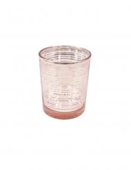Photophore en verre à rayures rose gold 6,8 cm