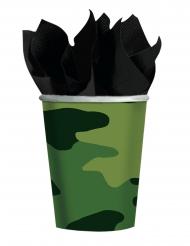 8 Gobelets en carton camouflage 266 ml