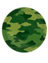 8 Petites assiettes en carton camouflage 18 cm