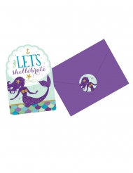 8 Invitations et enveloppes + stickers rêves de sirène 10 x 15 cm