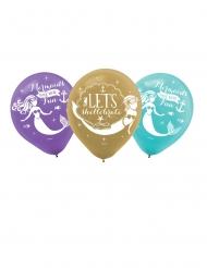 6 Ballons en latex imprimés rêves de sirène 27 cm