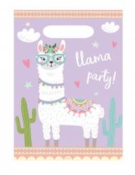8 Sacs de fête en plastique lama party 23 x 16 cm