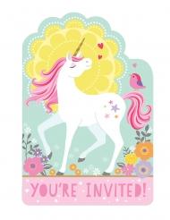 8 Invitations et enveloppes jolie licorne magique 15 x 10 cm