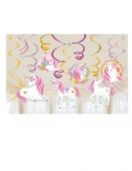 12 Suspensions à spirales en carton jolie licorne magique 61 cm