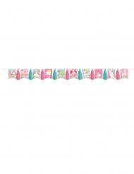 Guirlande en carton fanions et tassels jolie licorne magique 3 m