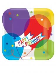 18 Assiettes carrées en carton ballons brillants 23 x 23 cm