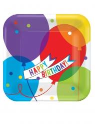 18 Petites assiettes carrées en carton ballons brillants 18 x 18 cm