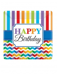 8 Assiettes carrées en carton Happy Birthday multicolore 25 x 25 cm