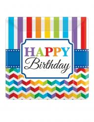 8 Petites assiettes carrées en carton Happy Birthday multicolore 18 x 18 cm