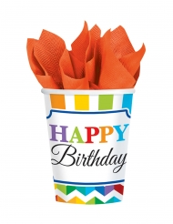 8 Gobelets en carton Happy Birthday multicolore 266 ml