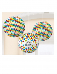 3 Lanternes en papier Happy Birthday multicolore 24 cm