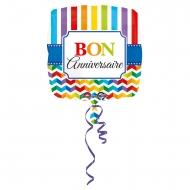 Ballon aluminium carré Bon Anniversaire multicolore 43 cm