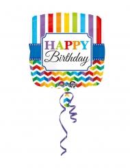 Ballon hélium carré Happy Birthday multicolore 43 cm