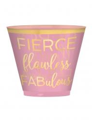 30 Gobelets en plastique rose confettis pastel 266 ml