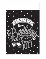 Nappe en plastique noire Happy Birthday 137 x 259 cm
