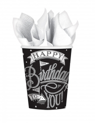 18 Gobelets en carton noirs Happy Birthday 266 ml